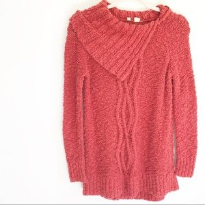 Anthro Moth Rust Orange Button Cowl Neck Sweater